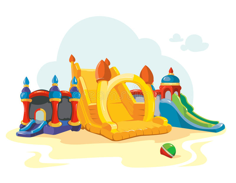 Wektorowa ilustracja nadmuchiwani kasztele i dzieci wzgórza na boisku ilustracji