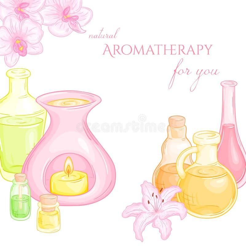Wektorowa ilustracja nafciany palnik z kwiatami, set istotni oleje, i royalty ilustracja