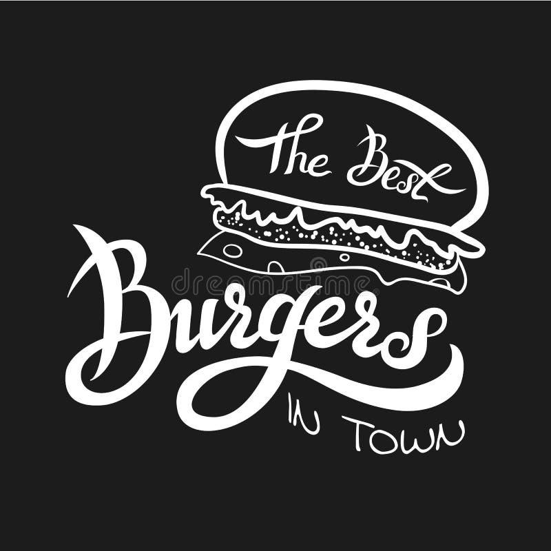 Wektorowa ilustracja najlepszy hamburgery zdjęcie stock