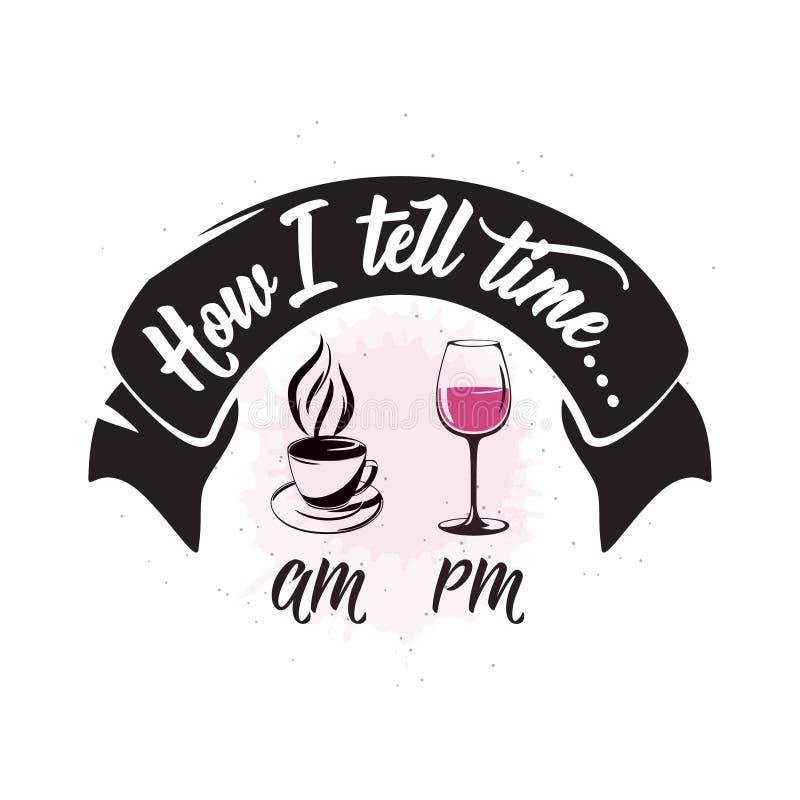 Wektorowa ilustracja napój powiązana typograficzna wycena Wino loga stary projekt royalty ilustracja