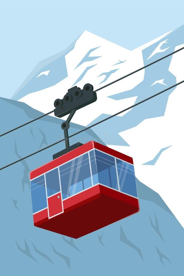 Wektorowa ilustracja narciarskiego dźwignięcia gondola z górami w tle royalty ilustracja