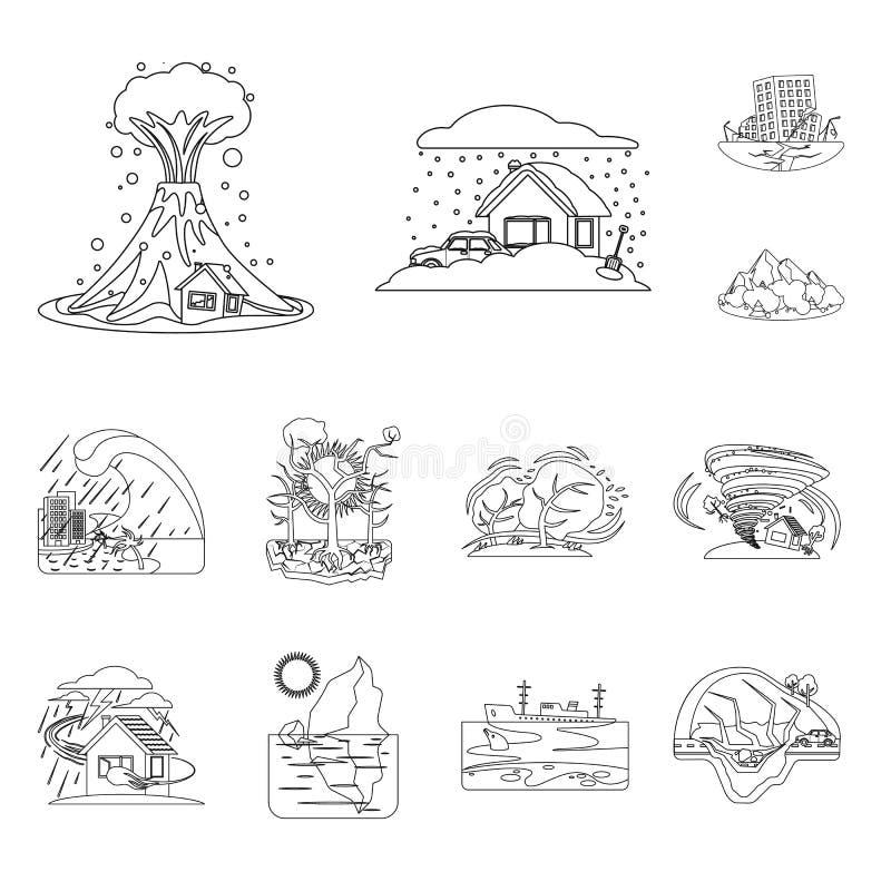 Wektorowa ilustracja naturalny i katastrofa logo Kolekcja naturalny i ryzyko akcyjny symbol dla sieci ilustracja wektor