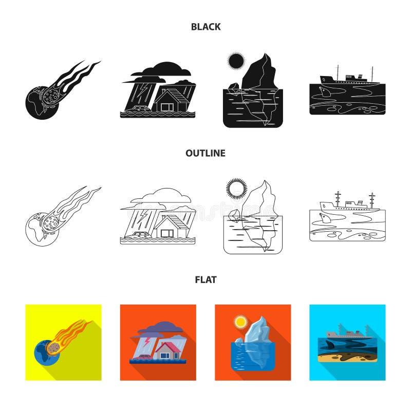 Wektorowa ilustracja naturalny i katastrofa symbol Kolekcja naturalny i ryzyko akcyjny symbol dla sieci royalty ilustracja