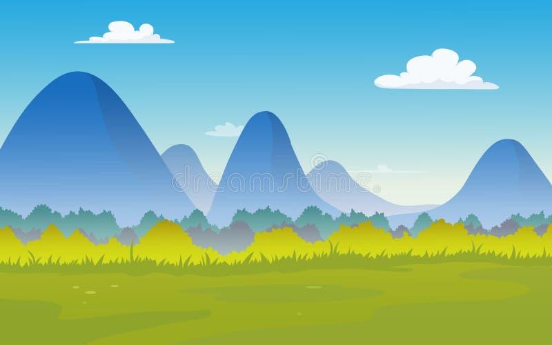 Wektorowa ilustracja naturalny krajobraz z górami wiosłuje ilustracja wektor