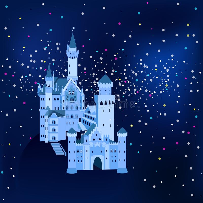 Wektorowa ilustracja, Neuschwanstein kasztel w Niemcy przy nocą ilustracji