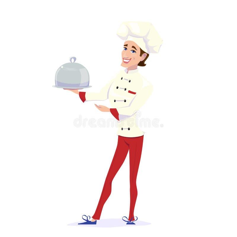 Wektorowa ilustracja niesie obiadowego półkowego posiłek i wskazuje to kucbarski szef kuchni ilustracja wektor