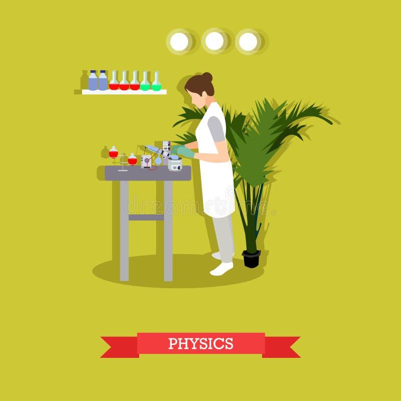 Wektorowa ilustracja niesie out eksperyment w fizycznym laboratorium kobieta ilustracji