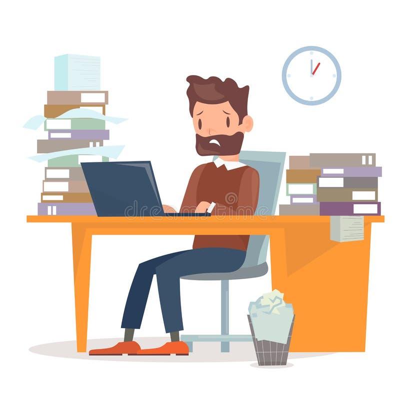 Wektorowa ilustracja nieszczęśliwy zmęczony biznesmena obsiadanie przy biurkiem z komputerem, mnóstwo dokumenty i papiery i A royalty ilustracja