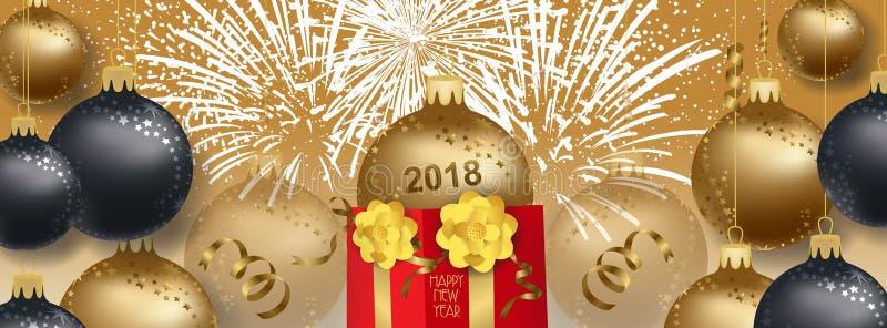 Wektorowa ilustracja nowego roku 2018 tło z boże narodzenie złocistymi piłkami prezentem i ilustracja wektor