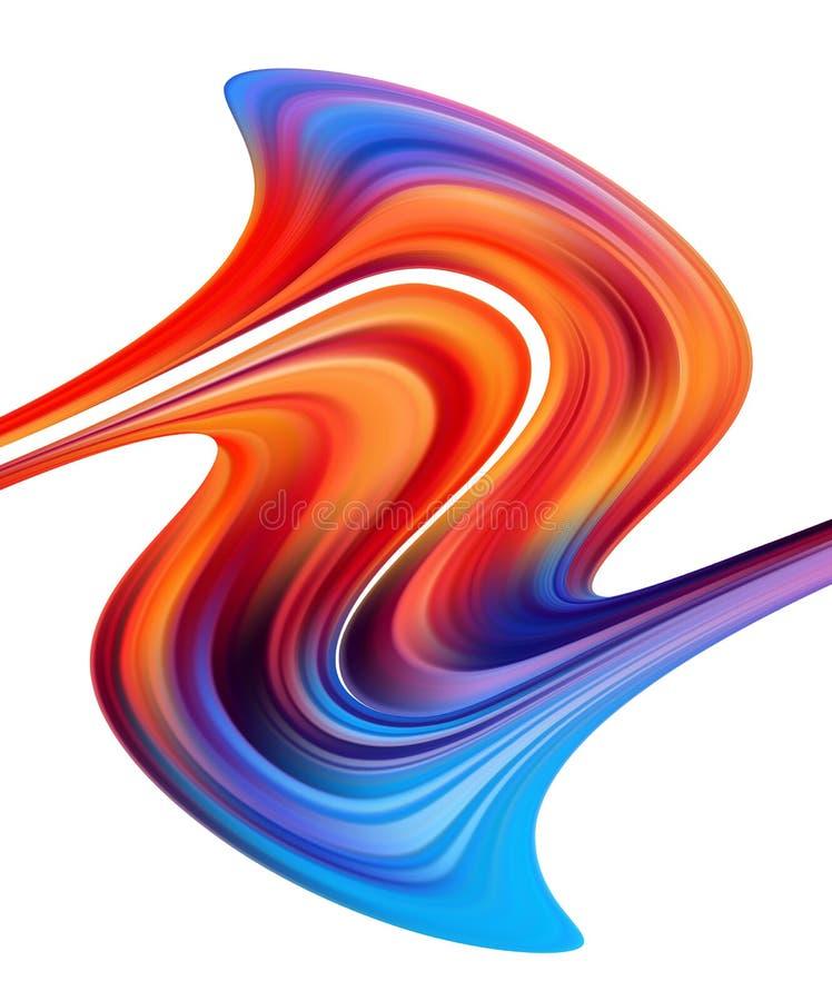 Wektorowa ilustracja: Nowożytny kolorowy farba przepływ Falowy ciekły kształt na białym tle Abstrakcjonistyczny projekt royalty ilustracja