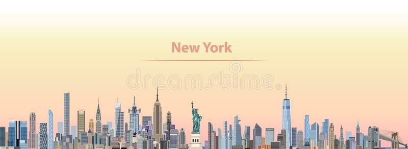 Wektorowa ilustracja Nowy Jork miasta linia horyzontu przy wschodem słońca ilustracji