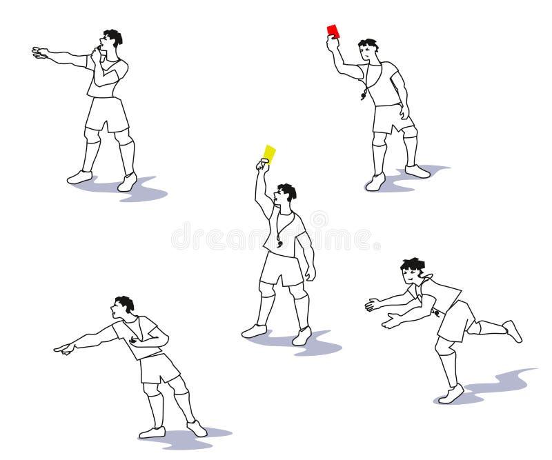 Wektorowa ilustracja od piłka nożna arbitrów, futbolowi arbitrzy w akcjach ilustracji