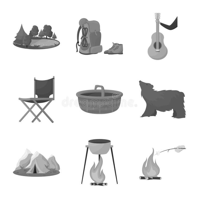 Wektorowa ilustracja odtwarzanie i parka logo Set odtwarzanie i wycieczki zaopatrujemy wektorową ilustrację ilustracja wektor