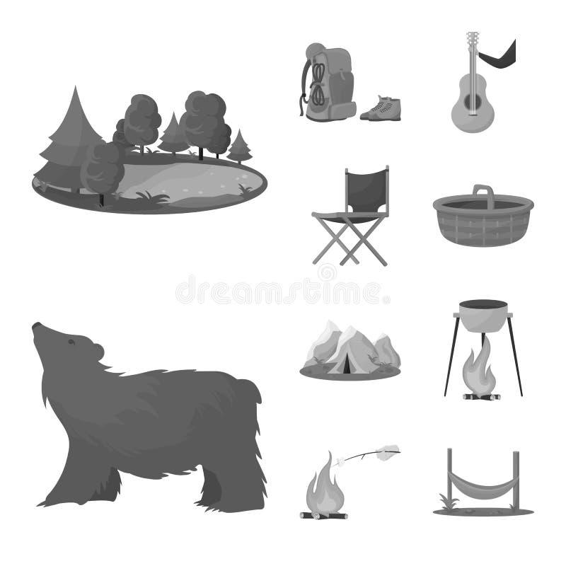 Wektorowa ilustracja odtwarzanie i parka symbol Kolekcja odtwarzanie i wycieczki zaopatrujemy wektorową ilustrację royalty ilustracja