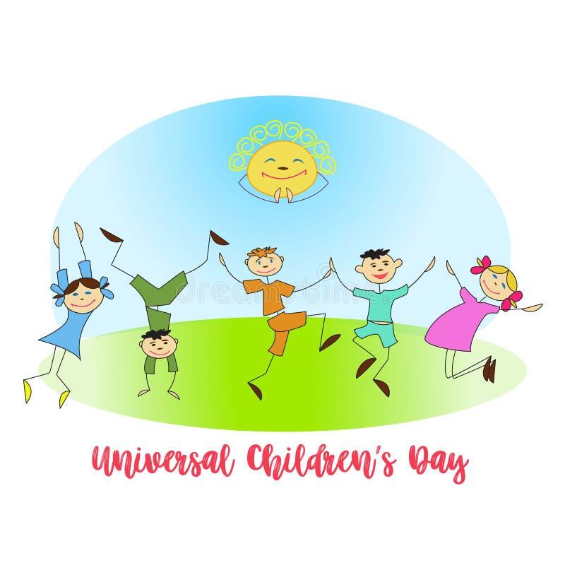 Wektorowa ilustracja Ogólnoludzkiego Children dnia dziewczyn i chłopiec Radosny tanczyć royalty ilustracja