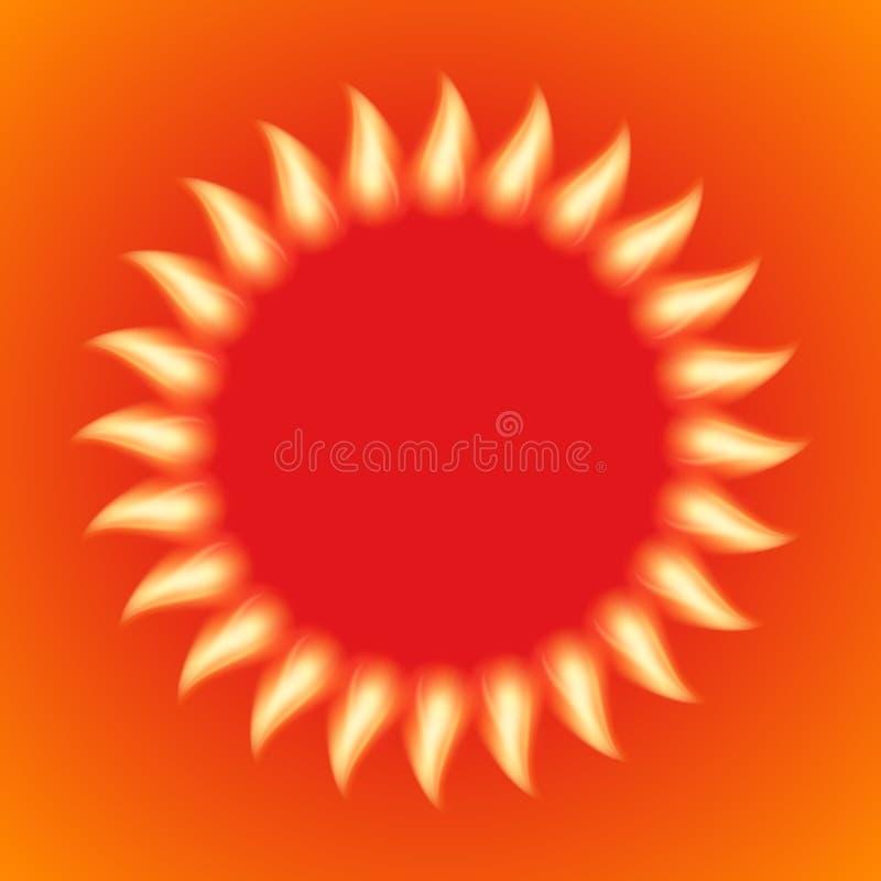 Wektorowa ilustracja ognisty słońce ilustracji