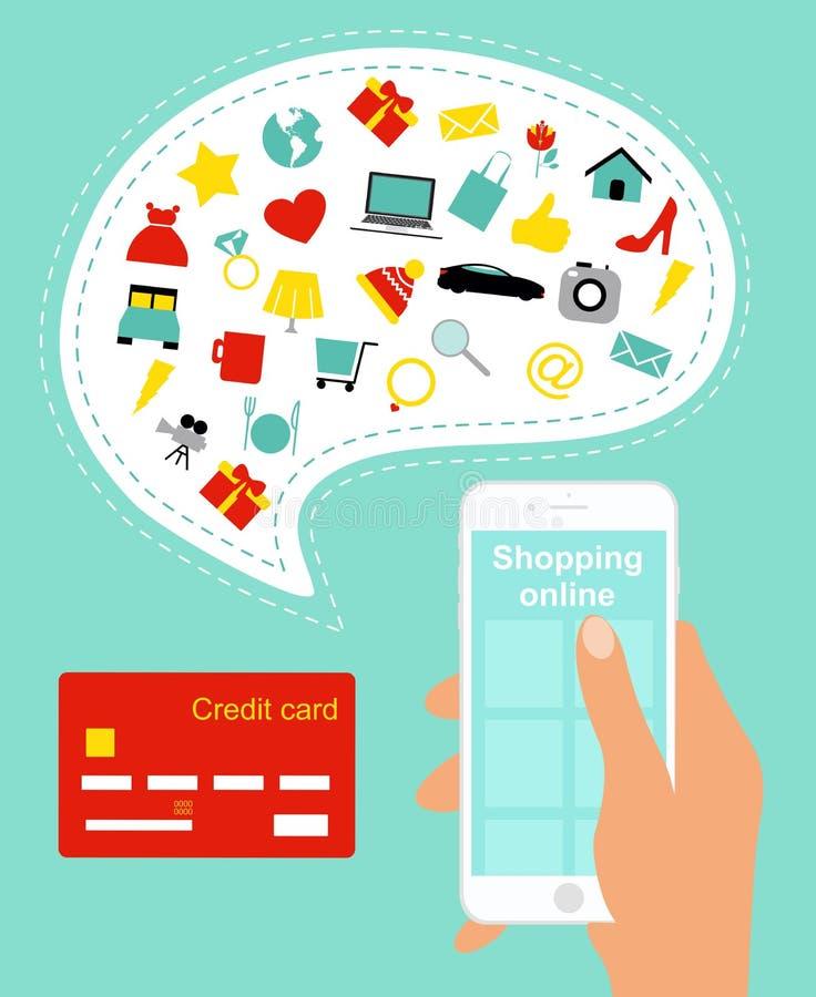 Wektorowa ilustracja online zakupy pojęcie Kupować online używać telefon komórkowego i kredytową kartę z dużo w ręce ilustracji
