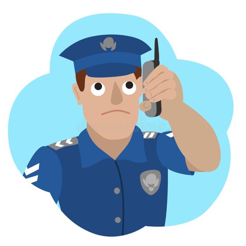Wektorowa ilustracja opowiada na telefonie komórkowym policjant ilustracji