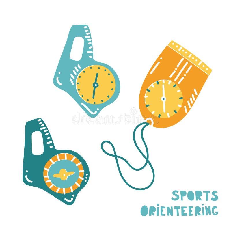 Wektorowa ilustracja orienteering kompas ilustracja wektor