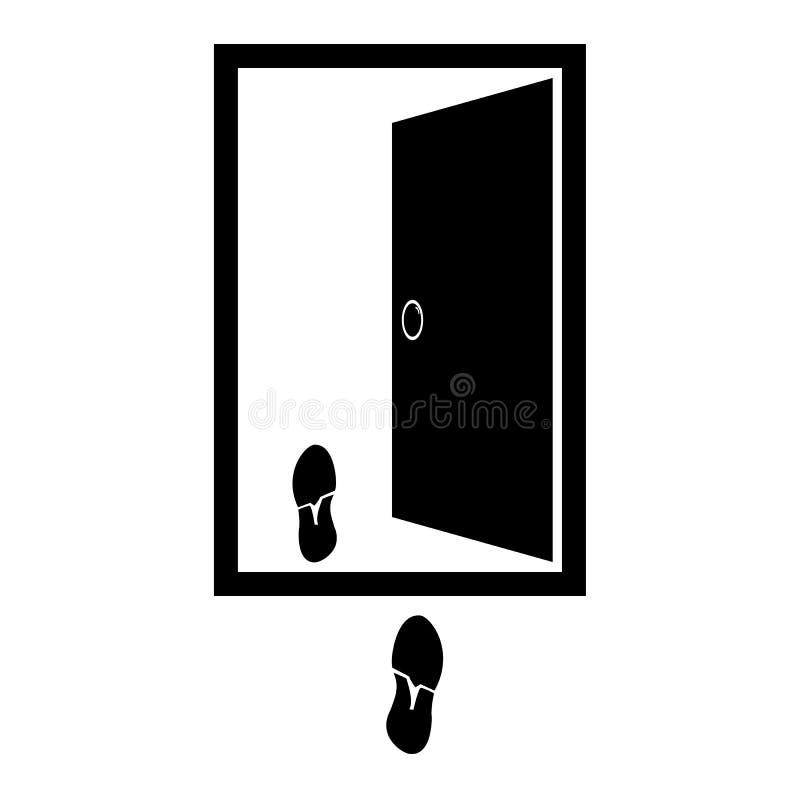 Wektorowa ilustracja otwarte drzwi z odciskami buty w pobliżu, mieszkanie styl ilustracji