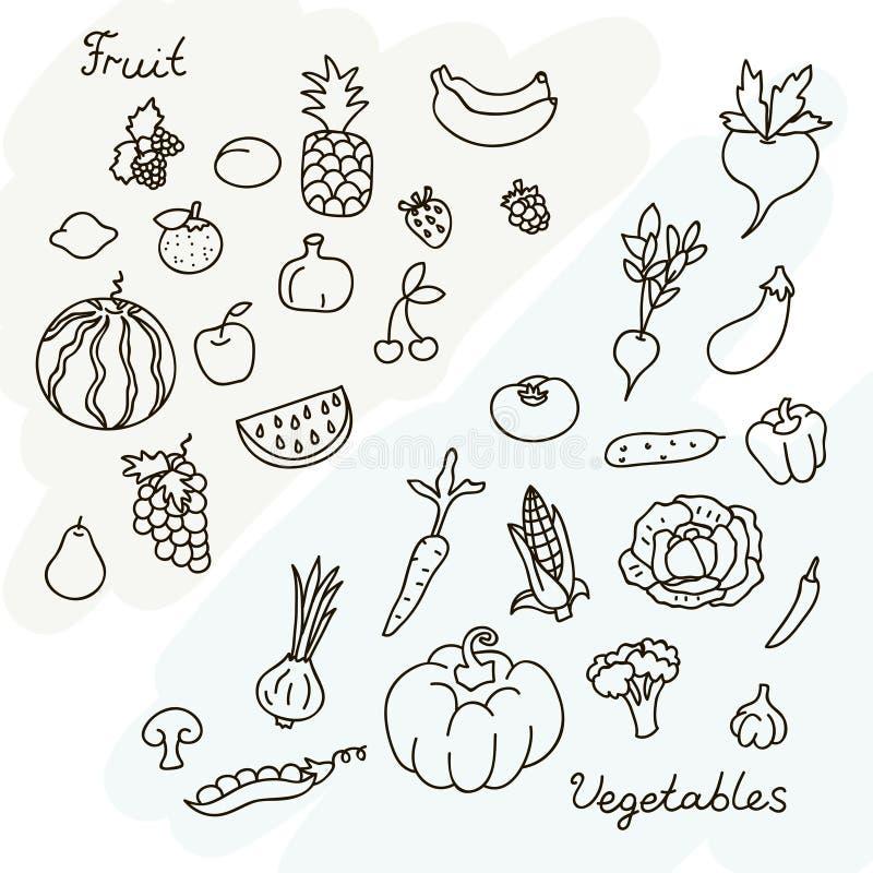 Wektorowa ilustracja owoc i warzywo inkasowi w czarny i biały ilustracji