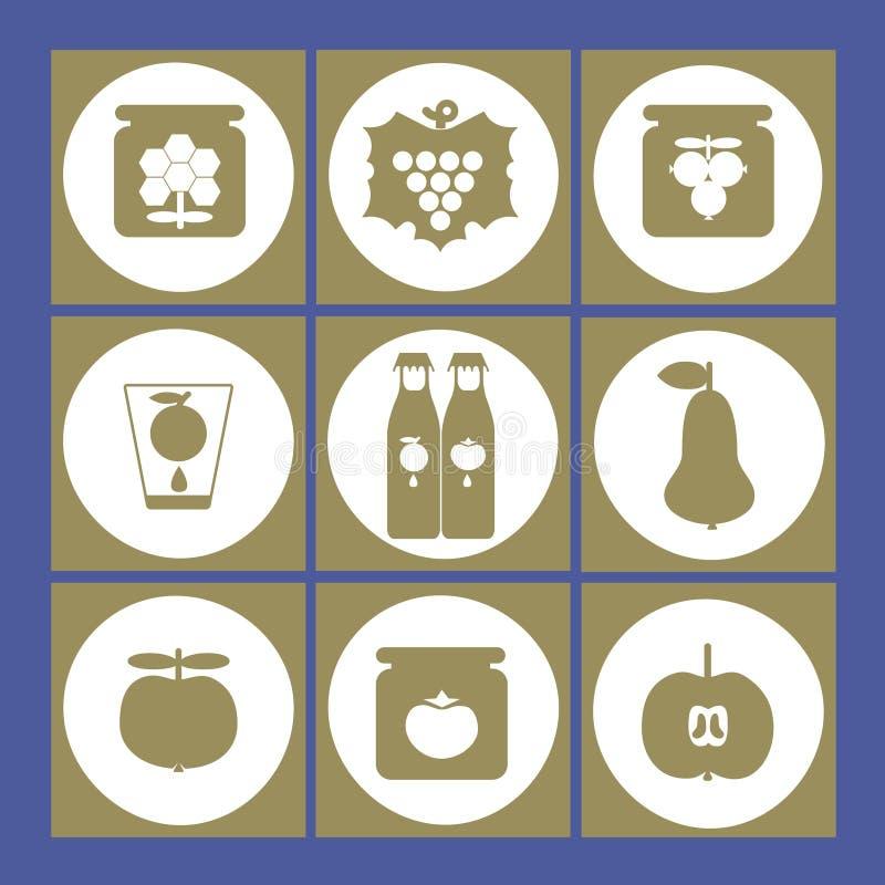 Wektorowa ilustracja owoc, miód, konserwować jedzenie i dżem ikony, royalty ilustracja