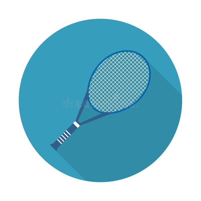 Wektorowa ilustracja płaska ikona tenisa rakieta Płaska wektorowa powiązana ikona z długim cieniem dla sieci i wiszącej ozdoby royalty ilustracja