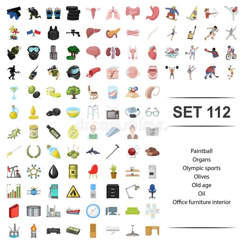 Wektorowa ilustracja paintball, organ, olymhic, sport, oliwny starość biurowego meble ikony wewnętrzny set royalty ilustracja