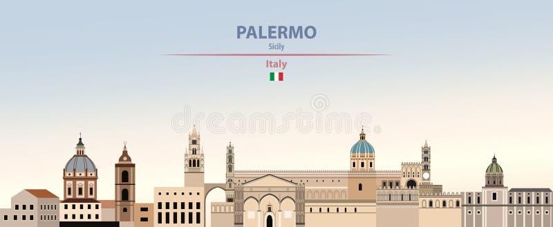 Wektorowa ilustracja Palermo miasta linia horyzontu na kolorowym gradientowym pięknym dnia nieba tle z flagą Włochy ilustracja wektor