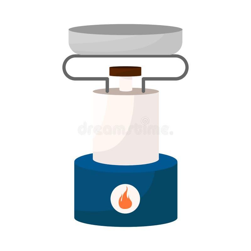 Wektorowa ilustracja palnik i przetrwanie ikona Set palnika i gazu wektorowa ikona dla zapasu royalty ilustracja