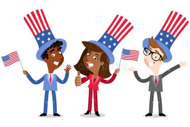 Wektorowa ilustracja patriotycznej kreskówki Amerykańscy ludzie biznesu jest ubranym gwiazdy i lampasów kapelusze świętuje czwart ilustracji