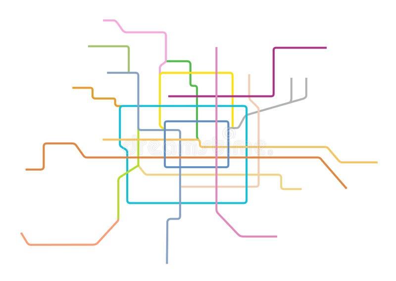 Wektorowa ilustracja Pekin metra mapa, Chiny ilustracji