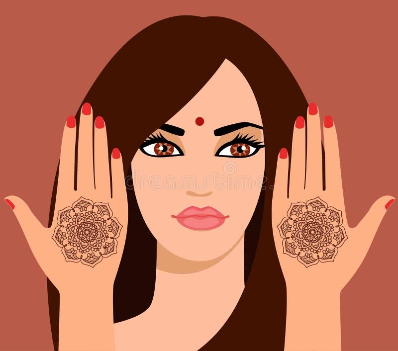 Wektorowa ilustracja piękna Indiańska kobieta z długie włosy Elementu joga mudra ręki z mehendi wzorami Wektorowy illustrat ilustracji