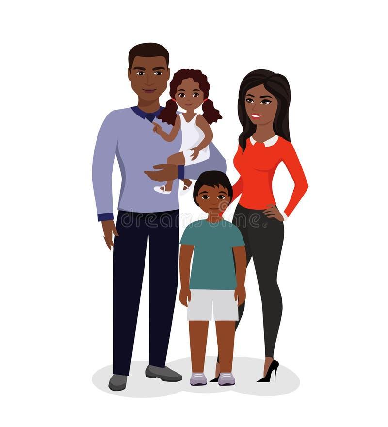 Wektorowa ilustracja piękna szczęśliwa rodzina Amerykan Afrykańskiego Pochodzenia dzieci i rodzice Uśmiechnięta kreskówki matka,  ilustracja wektor
