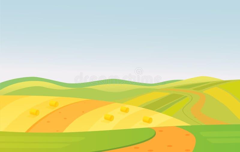 Wektorowa ilustracja pięknego lata koloru żółtego i zieleni poly wiejski krajobraz ilustracji
