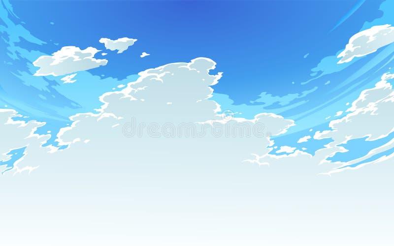 Wektorowa ilustracja piękny jaskrawy chmurny niebo w Anime stylu 2 royalty ilustracja