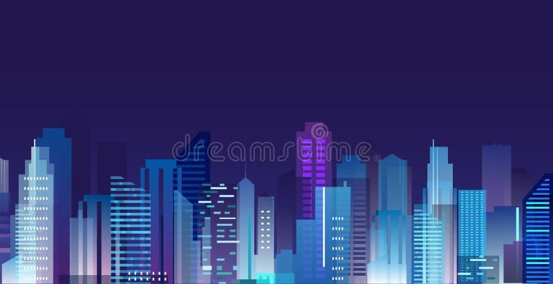 Wektorowa ilustracja piękny nocy miasto, drapacze chmur zaświeca w nocy metropolii, linia horyzontu w mieszkanie stylu ilustracji