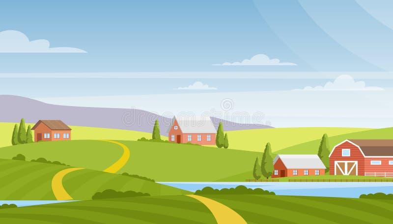 Wektorowa ilustracja piękny wiejski krajobraz, gospodarstwo rolne, pola, rzeka i góry na tle, wieś royalty ilustracja