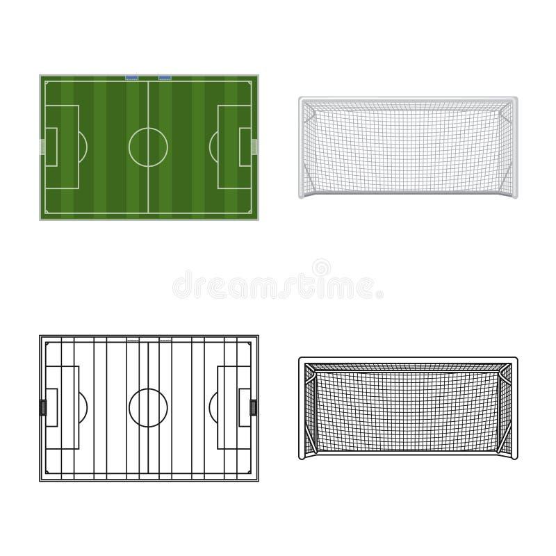 Wektorowa ilustracja piłka nożna i przekładnia logo Kolekcja piłki nożnej i turnieju akcyjny symbol dla sieci royalty ilustracja