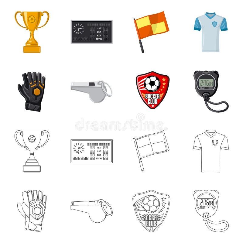 Wektorowa ilustracja piłka nożna i przekładnia logo Set piłki nożnej i turnieju akcyjna wektorowa ilustracja ilustracji