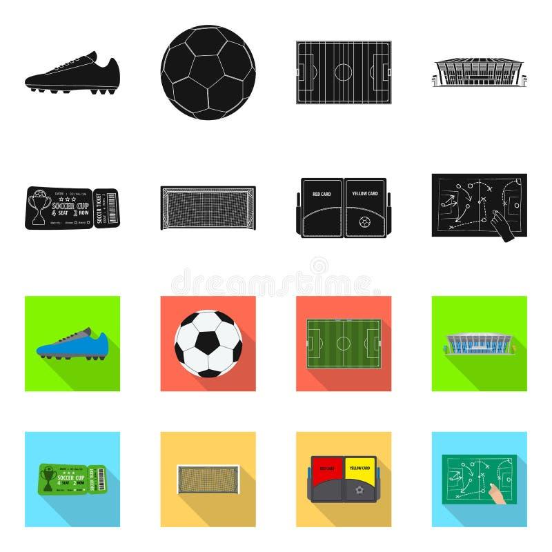 Wektorowa ilustracja piłka nożna i przekładnia symbol Set piłki nożnej i turnieju akcyjny symbol dla sieci royalty ilustracja