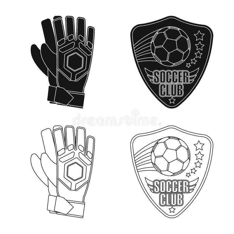 Wektorowa ilustracja piłka nożna i przekładnia znak Set piłki nożnej i turnieju wektorowa ikona dla zapasu ilustracji