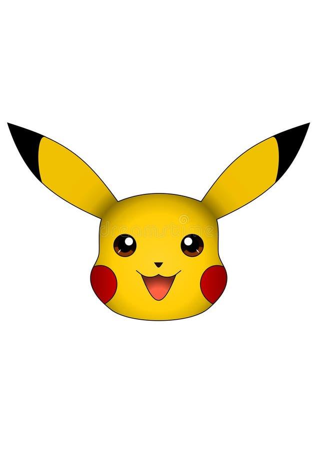 Wektorowa ilustracja Pikachu odizolowywał na białym tle, pokemon royalty ilustracja