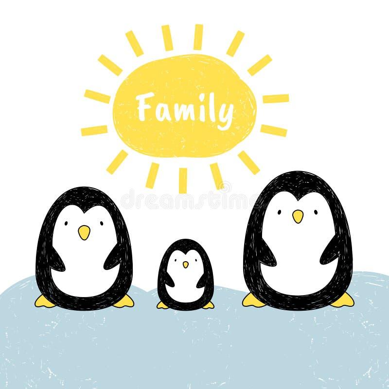 Wektorowa ilustracja pingwin rodzina Kreskówka styl TARGET688_1_ ręką ilustracji