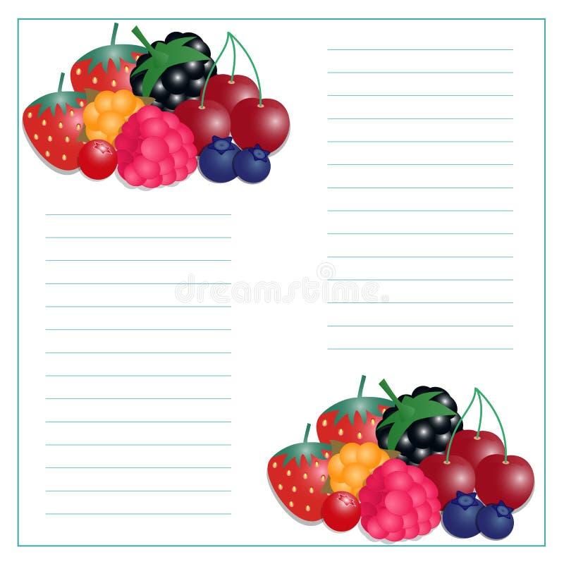 Wektorowa ilustracja pisać papierze z jagodami ilustracja wektor