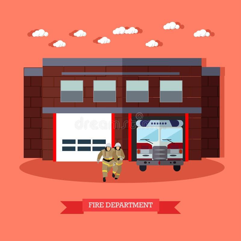 Wektorowa ilustracja Pożarniczy dział i strażacy w mieszkaniu projektujemy ilustracja wektor