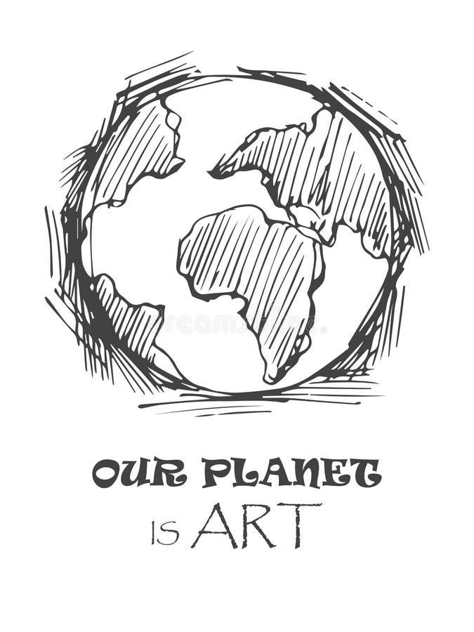 Wektorowa ilustracja pociągany ręcznie globalny, ziemia, planetuje chłodno nakreślenie z podpisem nasz planeta jest sztuką royalty ilustracja