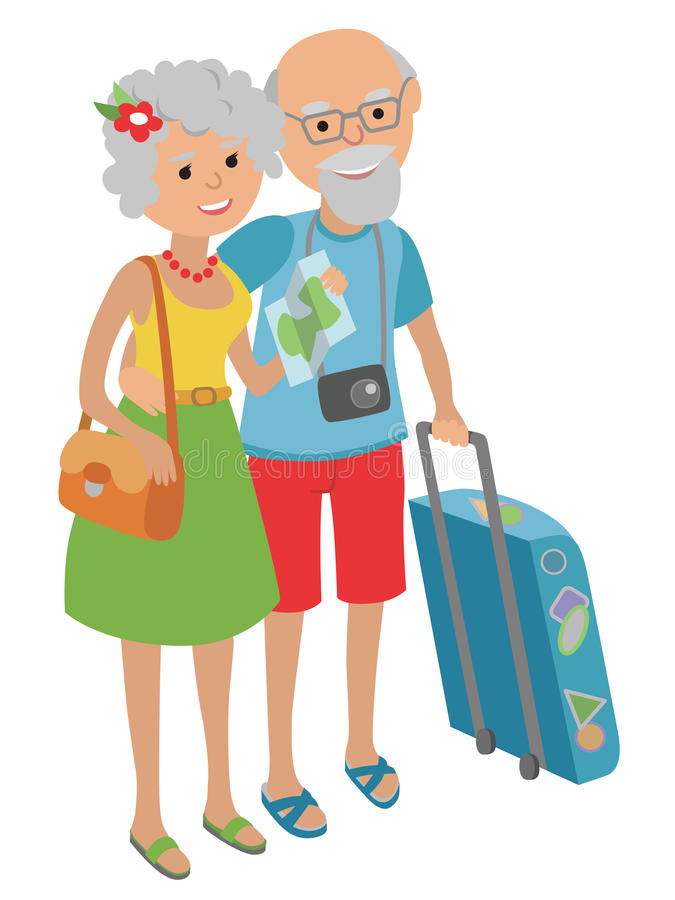 Wektorowa ilustracja podróżuje na białym tle w mieszkanie stylu starszej osoby para Starsze osoby obsługują i kobieta ilustracja wektor