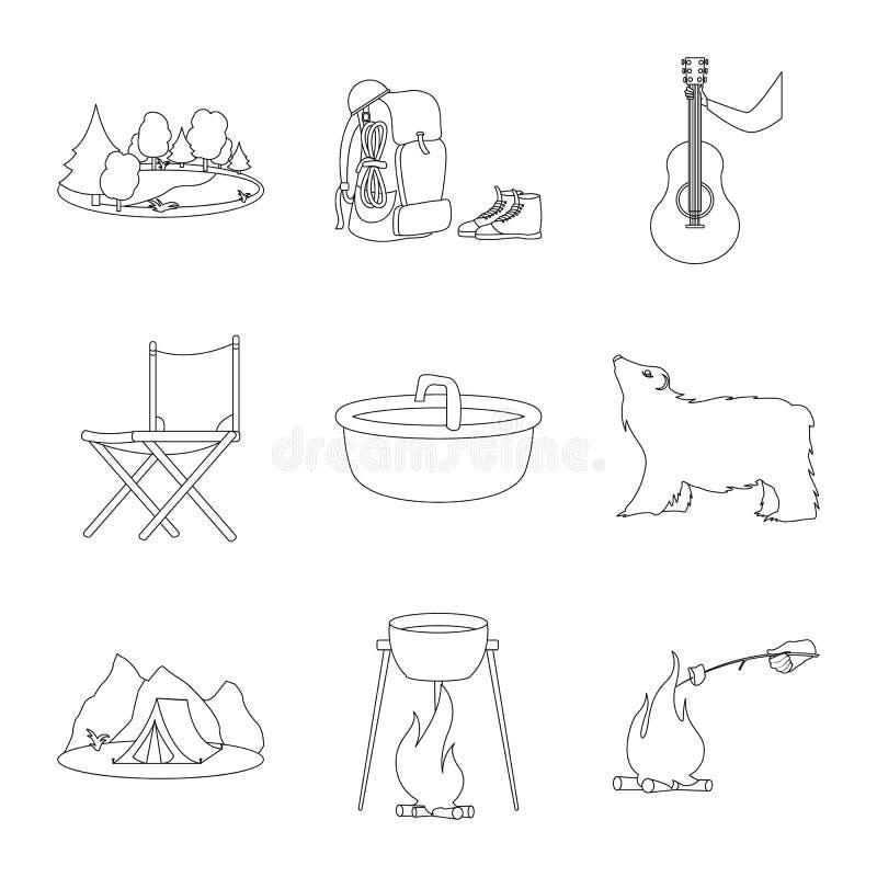 Wektorowa ilustracja podróży i natury symbol Set podróż i park akcyjna wektorowa ilustracja royalty ilustracja