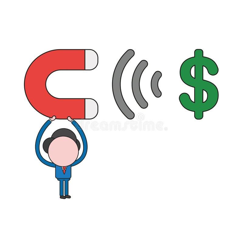 Wektorowa ilustracja podtrzymuje magnes i przyciąga dolarowego symbol biznesmena charakter Koloru i czerni kontury ilustracji